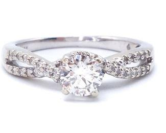 Gorgeous Criss Cross Diamond Wedding Set in 14k White Gold; $3275
