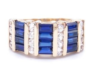 Cartier Styled Blue & White Estate Ring in 14k Yellow Gold