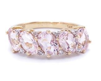 Beautiful Pink Morganite and Diamond Estate Ring in 14k Yellow Gold