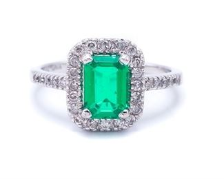 Ladies Emerald and Diamond Estate Ring in 14k White Gold