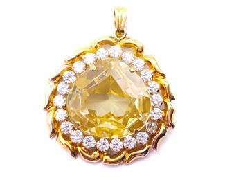 Immaculate Yellow & White Estate Pendant in 18k Yellow Gold