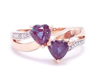 Beautiful Color Changing Heart-Shaped Alexandrite and Diamond Ring in 14k Yellow Gold