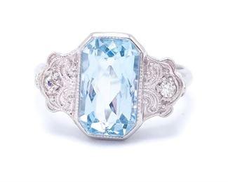 Elegant Aqua and Diamond Art Nouveau Estate Ring in 14k White Gold; $3250