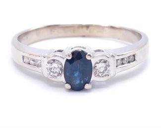 Brilliant Blue Sapphire and Diamond Estate Ring in 14k White Gold; $2750