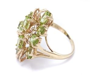 Ladies Peridot Estate Cluster Ring in Yellow Gold; $1850