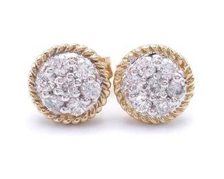 Diamond Estate Earrings in Two Tone Gold; $1750