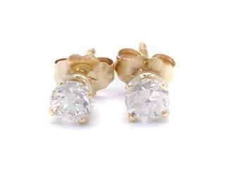Diamond Stud Estate Earrings in 14k Yellow Gold