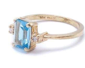 Elegant Aqua and Diamond Estate Ring in Yellow Gold; $2200