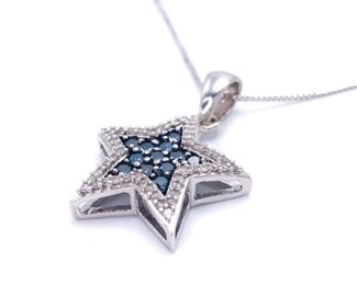Dazzling Blue and White Diamond Estate Necklace in White Gold; $1899