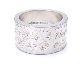 Tiffany & Co Cursive Notes Estate Ring in Sterling Silver; $275