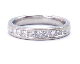Platinum Princess Cut Diamond Estate Band; $2450