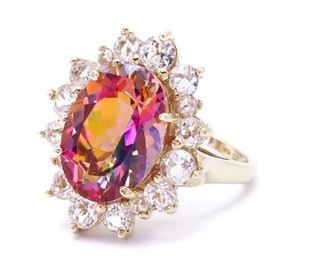 Spectacular Color Changing Mystic Topaz Estate Ring in Yellow Gold