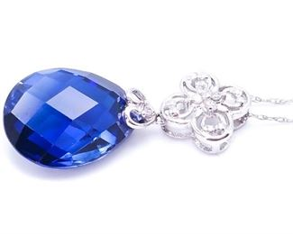 """Stunning Sapphire and Diamond 18"""" Estate Necklace in White Gold"""