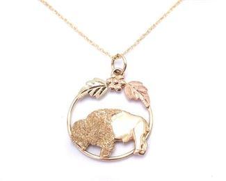 Buffalo Black Hills Gold Estate Necklace