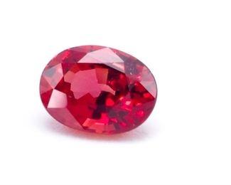 .51 Vivid Red Natural Burmese Ruby; Oval Cut