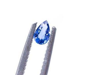 (2) Natural .52 Carat Cornflower Blue Ceylon Sapphires; Pear-Shaped Loose Gemstones