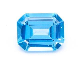 3.88 Carat Blue Topaz Gemstone; Octagon Cut
