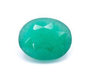 29+ Carat Natural Emerald Gemstone; Oval Cut