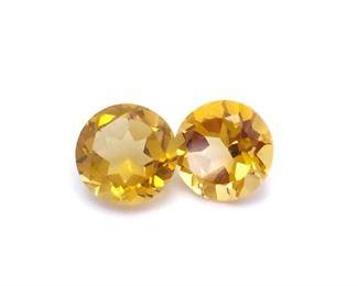 (2) .82 Carat Citrine Gemstones; Round Cut