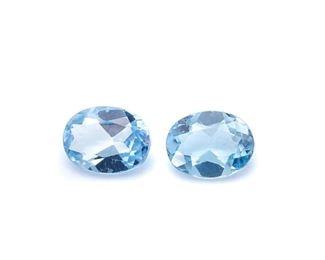 (2) .41 Swiss Blue Topaz Gemstones; Oval Cut