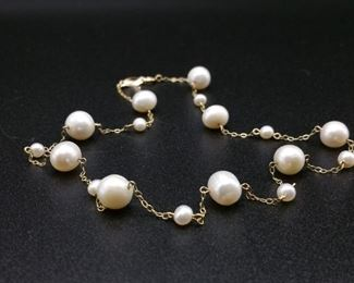 High-Quality Tiffany Styled Pearls-by-the-Yard Lustrous Graduated Pearl Estate Necklace in 14k Yellow Gold - $1899