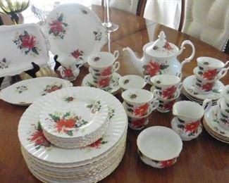 Royal Albert china-Poinsettia and Yuletide pattern