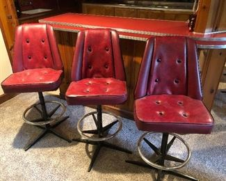Total of 6 custom crates bar stools from vintage boat seats
