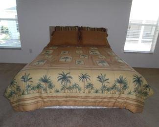 $100.00    Queen Bed, Wood/Wicker Headboard, Bedding included