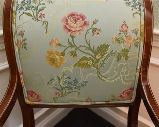 ITEM 2: Kindel Neoclassical Upholstered Dining Chairs (10)  $1500: Upholstered in luscious pale blue fabric with yellow, pink and blue flowers, and double piping. Woodwork and upholstery are in excellent condition. Eight side chairs, two armchairs.
