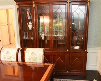 """ITEM 4: Kindel Neoclassical Breakfront  $995: Lighted; a touch sensor on the right door center hinge controls the dimmer lighting. Nine adjustable glass shelves. Locking. 82"""" wide x 17"""" deep x 86.5"""" tall"""