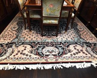 """ITEM 5: Dining Room Rug  $525: Hand-knotted wool. 9"""" x 12.5"""" Pinks, blues, cream, white. Excellent condition."""