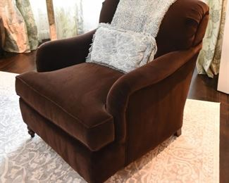 """ITEMS 6, 7: Dark Brown Velvet Kravet Furniture Chairs; 2 Available. $350 each: All four of these chairs are in exceptional condition since they've lived thus far in a formal living room, rarely used by the family. The rich dark brown velvet is simply delicious. For the full effect, the pillows are available too. Each chair has a 33"""" x 38"""" footprint, and is 36"""" tall"""