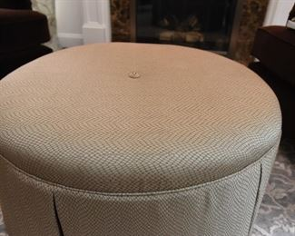 """ITEM 14: Kravet Furniture Circular Ottoman  $250: Upholstered and skirted in a gorgeous silvery-gray and blue textured fabric, this ottoman has tailored pleats, piping, and is finished with a single beaded button in the center. Excellent condition. 36"""" round, 16"""" tall"""