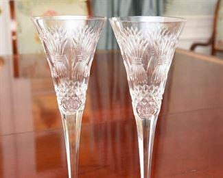 """ITEM 20: Pair Waterford Millennium Toasting Flutes """"Prosperity"""" pattern  $65  Mint condition"""