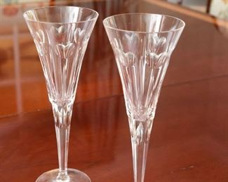 """ITEM 21: Pair Waterford Millennium Toasting Flutes """"Love"""" pattern $65 Mint condition"""