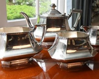 """ITEM 25:  Unmarked Four Piece Silver Plate Tea Service  $65 Teapot, at the tallest point is 6.5"""""""