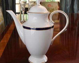 "ITEM 23: Lenox ""Federal Cobalt"" Coffee Pot  $100 Mint condition, 10.5"" tall"