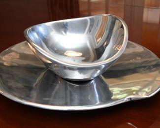 """ITEM 26: Nambé Platter & Bowl  $28 Platter diameter is 10.25"""", bowl is 7.5"""" diameter"""