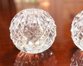 "ITEM 37: Pair Waterford Round Candlesticks  $45 3"" spheres"