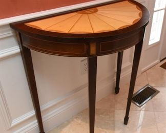 """ITEM 38: Kindel Demilune Table  $425 Excellent condition. 37"""" wide x 19"""" deep x 34"""" tall"""