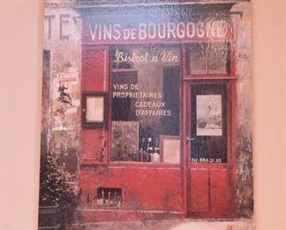 "ITEM 39: Vins de Bourgogne & Bouchons Wall Art $65 for both Each piece is 27"" x 39"""