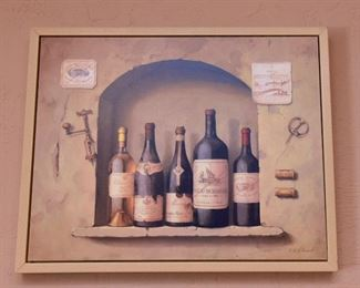 """ITEM 40: Five Bottle Vignette Wall Art  $45 Reproduction of a painting by F. deVilleneuve. Frame dimensions 21.25"""" wide, 17.25"""" tall, 1.25"""" thick"""
