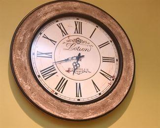 "ITEM 45: Lotion Clock  $30 24"" diameter. Battery operated movement."