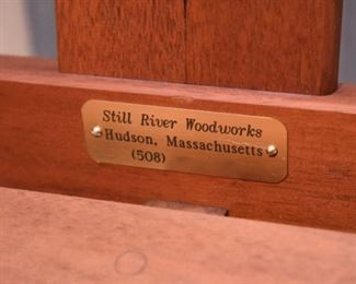 """ITEM 51: Still River Woodworks Bench  $175 53"""" wide, 24.5"""" deep, 36"""" tall; seat height 17"""""""