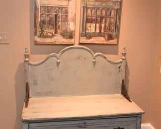 """ITEM 52: Upcycled Painted Bench with Storage Drawer $195 42"""" wide, 42"""" tall, 20"""" deep; seat height 21"""""""
