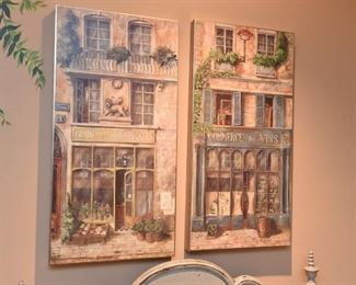ITEM 53: Pair French Storefront Wall Art  $55
