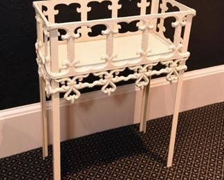 """ITEM 57: Painted Cast Iron Planter Stand  $65 18"""" long, 9.5"""" wide, 24"""" tall"""