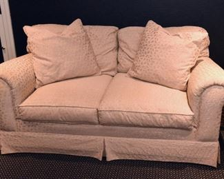 """ITEM 60: Lee Industries Damask Loveseat   $425 Upholstered in champagne damask fabric, and is down-filled. Measures 70"""" wide, 40"""" deep, 30"""" high"""