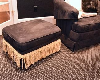 """ITEM 62: Black microsuede Jessica Charles Ottoman $150 26"""" long, 20"""" wide, 15"""" tall"""