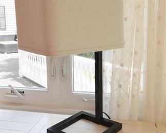 "ITEM 65: Square Metal Tube Lamp  $55 9"" x 9"" base, 25.5"" tall, 12"" square shade"